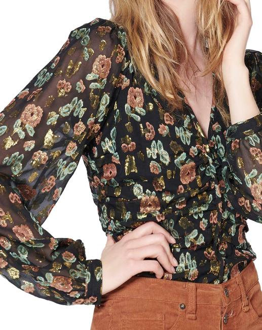 Item - Multicolor Metallic Floral Silk Chiffon Ruched Blouse Button-down Top Size 6 (S)