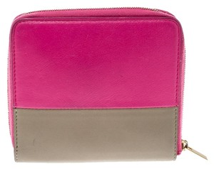 Céline Pink/Beige Leather Zip Around Compact Wallet