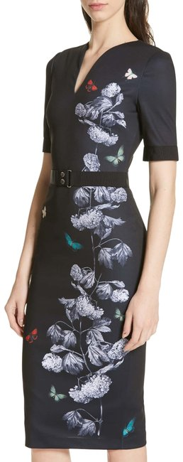 Item - Black with Flowers Narrnia Body-con In 5 (Us 14) 279 Mid-length Formal Dress Size 14 (L)