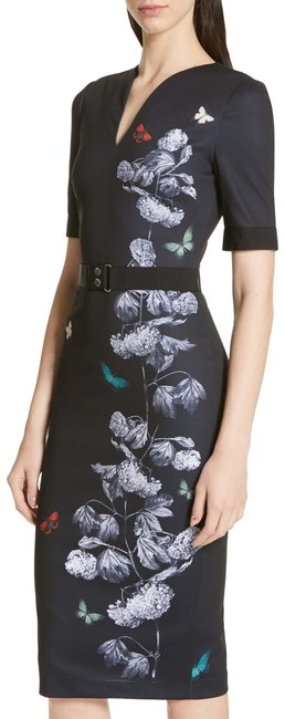 Item - Black with Flowers Narrnia Body-con In 3 (8) Mid-length Formal Dress Size 8 (M)