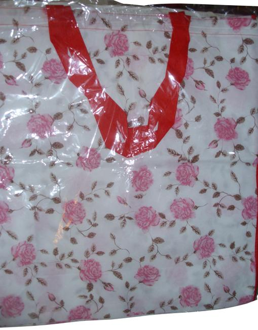 Unbranded Shopping Tote Large Lightweight Pink Rose Fabric Bag Unbranded Shopping Tote Large Lightweight Pink Rose Fabric Bag Image 1