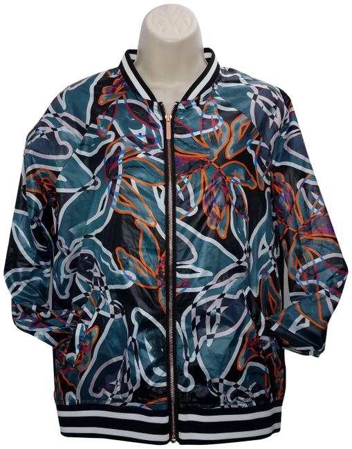 Item - Green Full Zip Bomber Tropical Unique Jacket Size 4 (S)