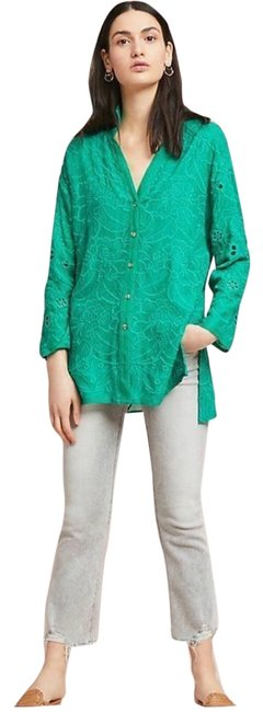 Item - Green Floral Eyelet Button Tunic Size 6 (S)