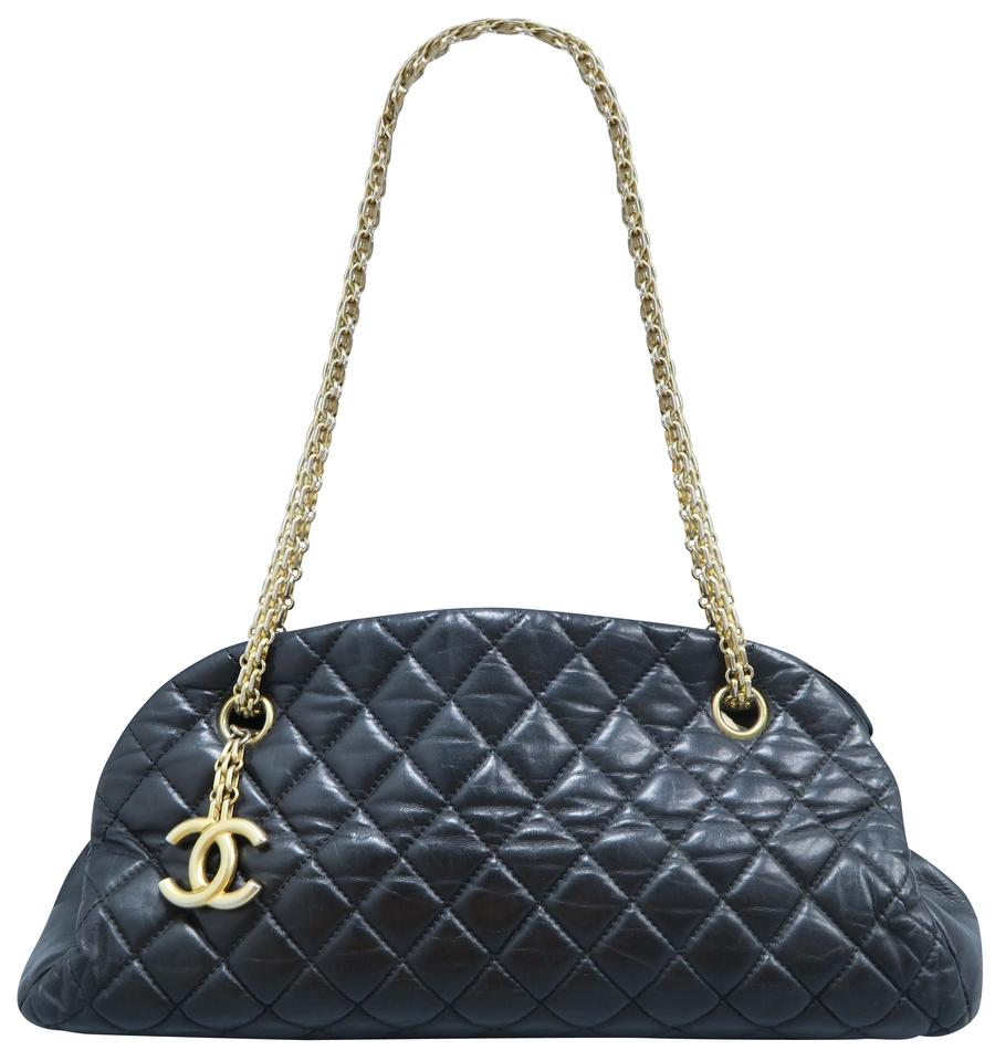 2154bef02a23 Chanel Mademoiselle Just Bowling Black Lambskin Shoulder Bag - Tradesy
