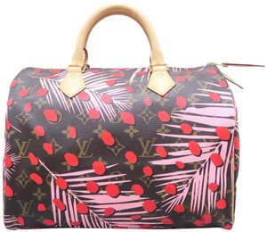 Louis Vuitton Lv Speedy Jungel Monogram Tote in Brown & Pink & Red