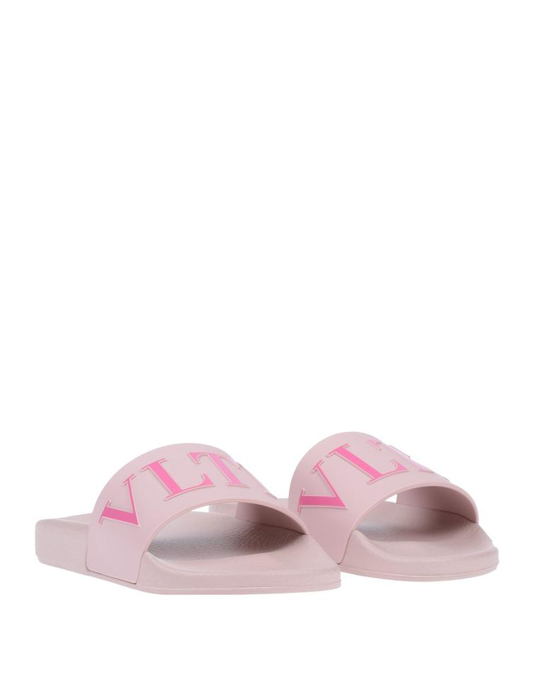 9e4c314d4 Valentino Pink Rubber Printed Pool Slide Sandals Size EU 37 (Approx ...
