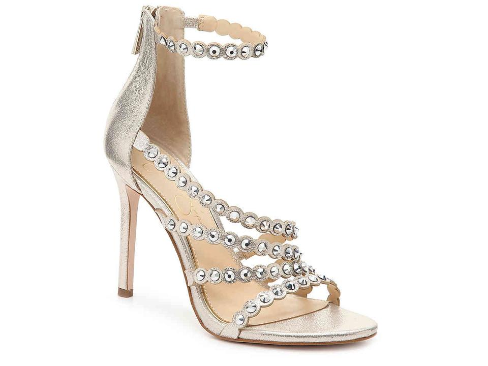 1ee405ee472 Jessica Simpson Back Zip Heels Open Toe Style Chic And Edgy Leather Sole  metallic gold scalloped ...