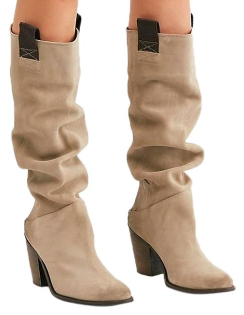 Free People Sand Montgomery Slouch Pull-up Boots/Booties Size US 6 Regular (M, B) Free People Sand Montgomery Slouch Pull-up Boots/Booties Size US 6 Regular (M, B) Image 1