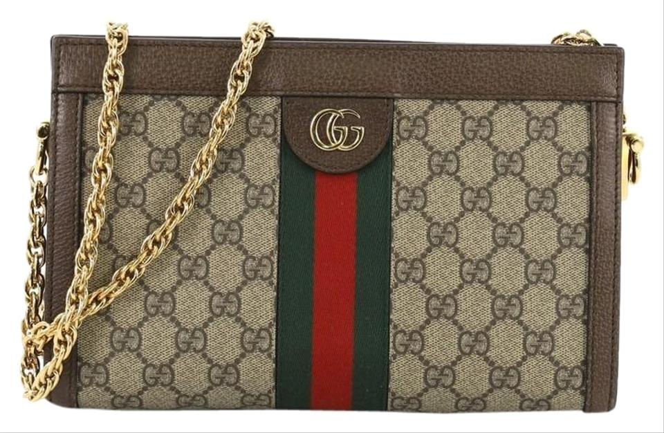 903771820b6 Gucci Ophidia Chain Gg Coated Small Brown Canvas Shoulder Bag - Tradesy