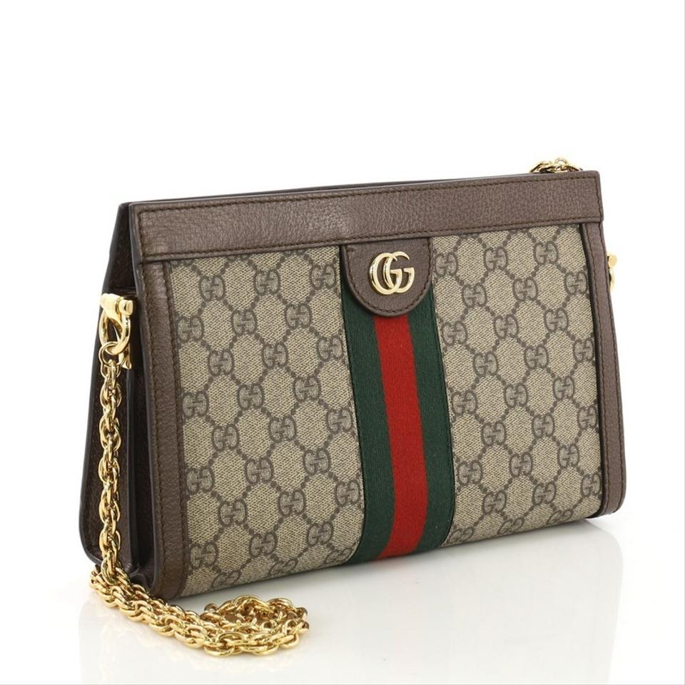 6124a957c Gucci Ophidia Chain Gg Coated Small Brown Canvas Shoulder Bag - Tradesy