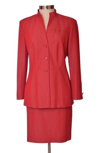 Item - Red Vintage 80s Long Sleeve Us Skirt Suit Size 10 (M)
