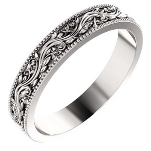 Apples of Gold Women's Sculpted Paisley Band 14k White Ring
