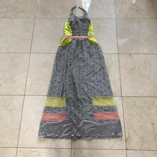 Item - Gray Neon Pink and Yellow Resort Sample Piece Silk Long Casual Maxi Dress Size 6 (S)