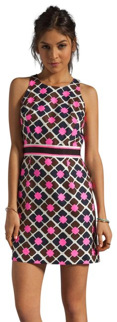 Milly of New York Pink Ny Anna Tile Shocking Short Casual Dress Size 8 (M) Milly of New York Pink Ny Anna Tile Shocking Short Casual Dress Size 8 (M) Image 1