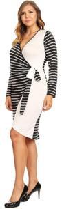 Curveaceous short dress Black Faux Wrap Little Plus Size Lightweight And White on Tradesy