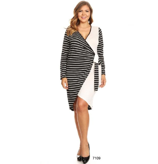 Curveaceous short dress Black Faux Wrap Little Plus Size Lightweight And White on Tradesy Image 1