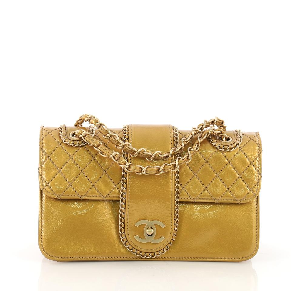 a2dc85db9b14 Chanel Classic Flap Madison Quilted Medium Gold Patent Leather ...
