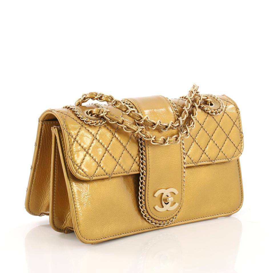 1c29e6fbef0f Chanel Classic Flap Madison Quilted Medium Gold Patent Leather Shoulder Bag  - Tradesy