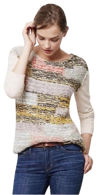 Item - Moth Colorblock Marled Knit Multi-color and Cream Sweater