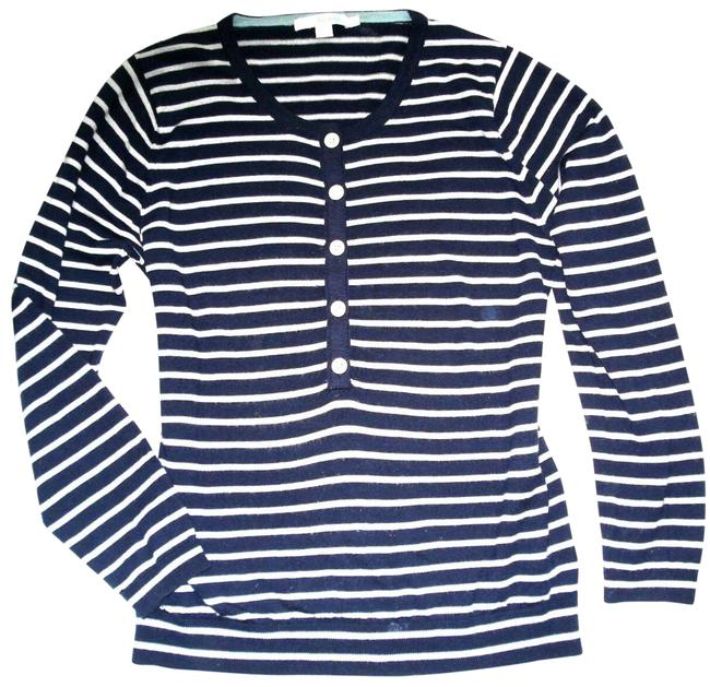 Boden Striped Wool Button Neck 14 (Uk18) Navy Sweater Boden Striped Wool Button Neck 14 (Uk18) Navy Sweater Image 1