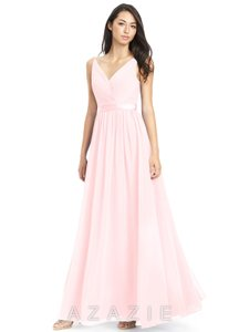 d7919d640dd Azazie Blushing Pink Chiffon Charmeuse Leanna Formal Bridesmaid Mob Dress  Size 4 (S