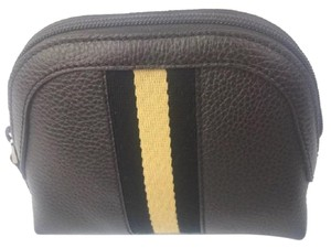 c1ab9c1aa6caef Gucci Gucci #339558 Brown Leather Web Stripe Zip Top Cosmetic Case/Clutch