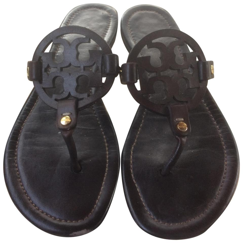 30d89b7e0 Tory Burch Chocolate Brown Dark Miller Sandals Size US 7 Regular (M ...