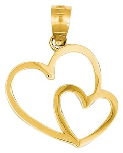 Apples of Gold 14K GOLD DOUBLE HEART CHARM PENDANT