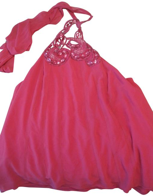 Item - Pink Hot with Tie At Neck and Sequins Halter Top Size 16 (XL, Plus 0x)