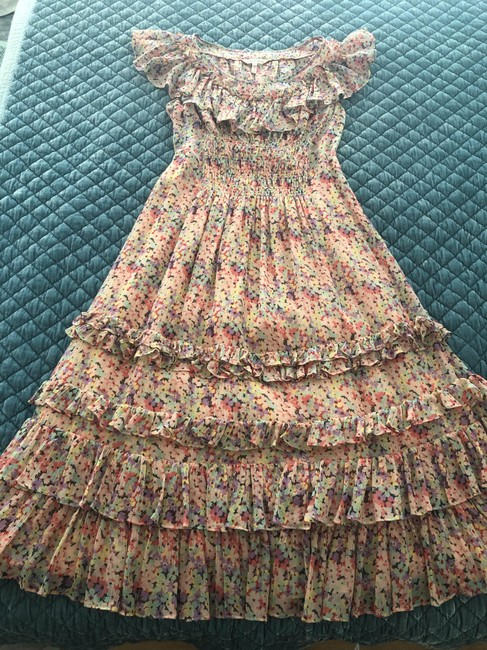 Item - Pink Floral Style Mid-length Casual Maxi Dress Size 4 (S)