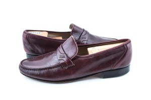 Bally Red Dridor Driving Loafers Burgundy Shoes