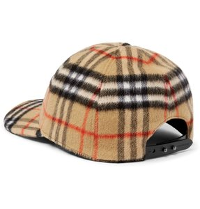 Burberry Checked Brushed-Wool Baseball Cap L