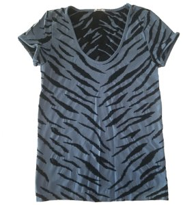 Wolford Stretchy Fitted Zebra T Shirt blue and black