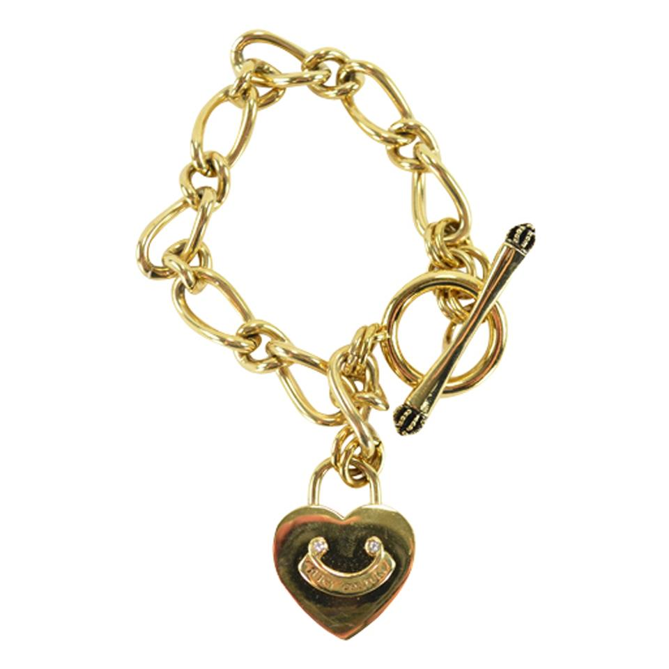 Starter Charm Bracelet: Juicy Couture Gold Heartpadlock Starter Charm Bracelet