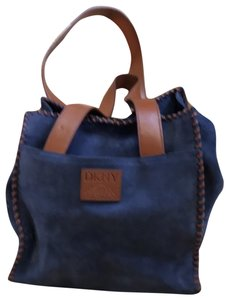DKNY Tote in Blue with tan straps and whip stitching