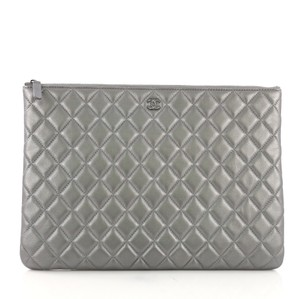 bdabfe881bc27a Chanel Lambskin silver Clutch. Chanel Case Quilted Large Silver Lambskin  Leather Clutch
