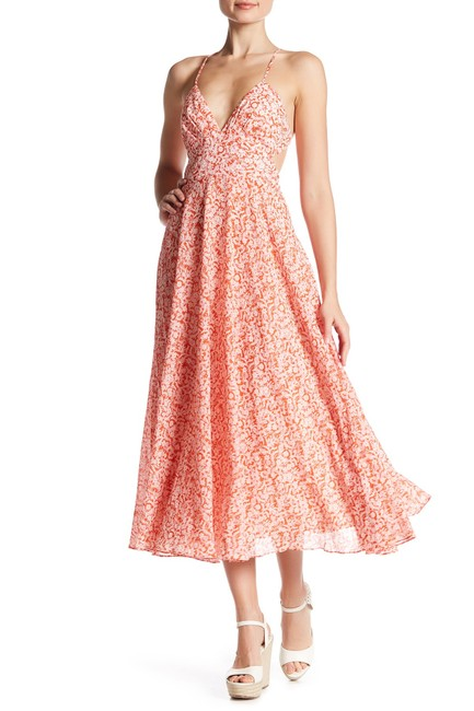 Item - Pink Orange (Nwt) Backless Strappy Summer Floral Mid-length Casual Maxi Dress Size 10 (M)