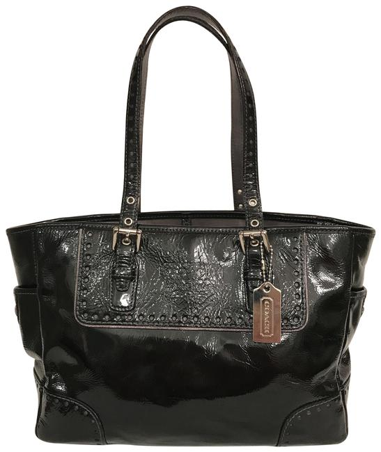 Item - Gallery 1432 Black Silver Patent Leather Tote