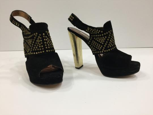 Twelfth St. by Cynthia Vincent Brads Metallic Gold Slingback Black Platforms Image 2