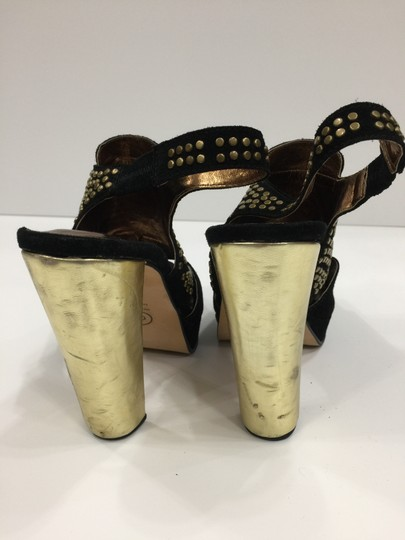 Twelfth St. by Cynthia Vincent Brads Metallic Gold Slingback Black Platforms Image 3