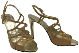 Valentino Metallic Strappy Tan/nude Sandals