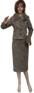 United Colors of Benetton Retro skirt suit with removable fur collar