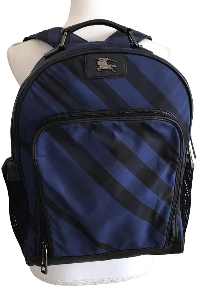 8c4e576b9446 Burberry Guc Check Blue  Navy Blue   Multiple Leather Nylon Backpack ...