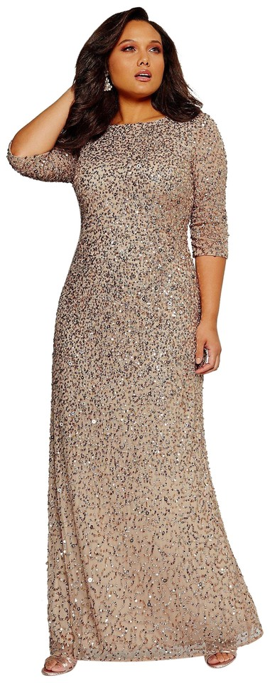 Adrianna Papell Champagne Silver Sequin Plus 3/4 Sleeve Beaded Gown Long  Formal Dress Size 14 (L) 48% off retail