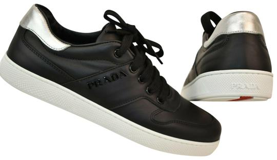5f44ddc94819 Prada Black Women Silver Leather Lace Up Logo Low Top Sneakers Italy ...