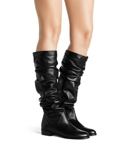 Stuart Weitzman Women's Flatscrunchy Nappa Leather Black Boots