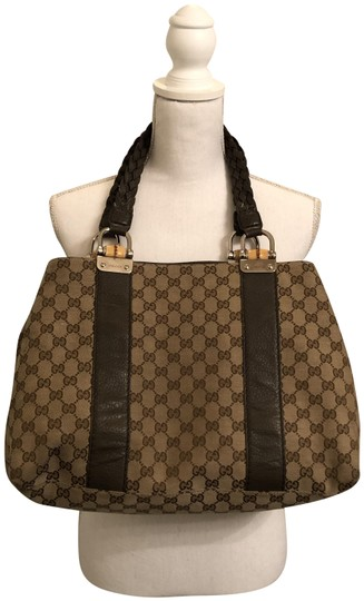 7620f033d6df Gucci Bamboo Bar Olive Green Canvas Tote - Tradesy