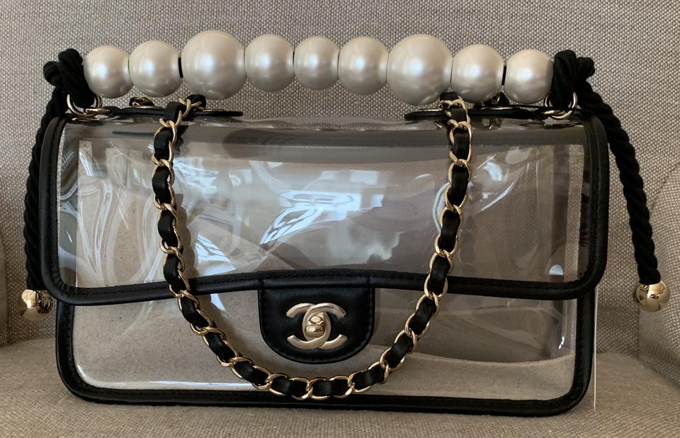 e527bc496 Chanel Classic Runway Coco Sand Single Flap Large Pearls Handle Black/Clear  Leather/Pvc Shoulder Bag - Tradesy