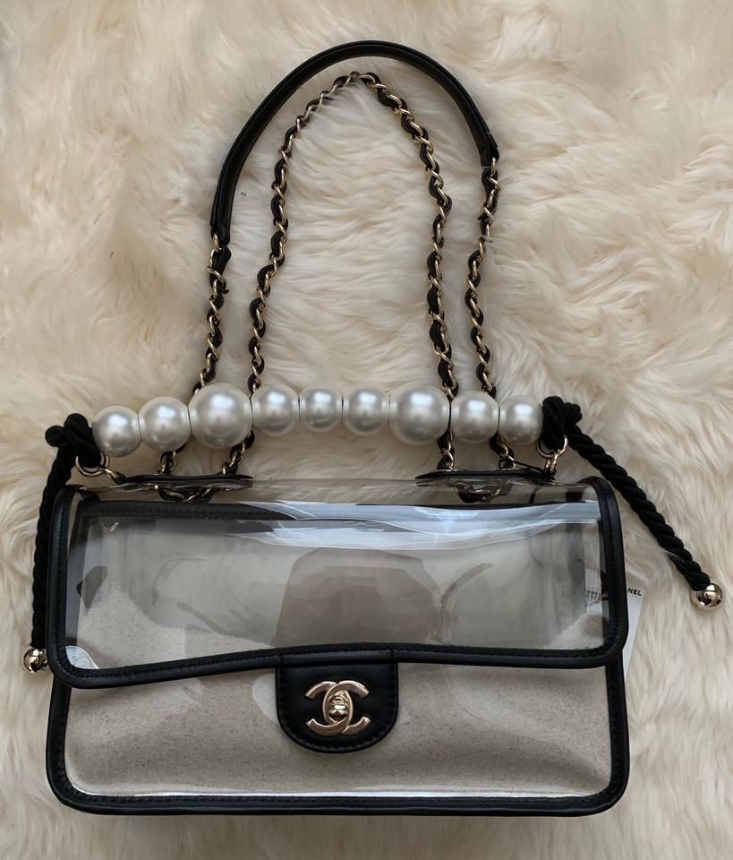 83c11d10a Chanel Classic Runway Coco Sand Single Flap Large Pearls Handle Black/Clear  Leather/Pvc Shoulder Bag - Tradesy