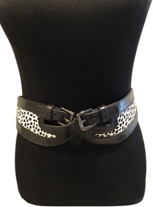 Worth WORTH NEW YORK COLLECTION LEATHER BELT W HORSEHAIR ACCENT